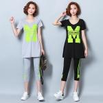 [PRE-ORDER] ชุดออกกำลังกายไซส์ใหญ่ มี 2 สี สีเทา/สีดำ เสื้อยืดแขนสั้น+กางเกงขาสามส่วน (M,L,XL,2XL,3XL,4XL,5XL)