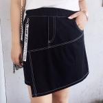 [PRE-ORDER] กระโปรงสั้น เย็บด้ายสีขาวตัดกับผ้าสีดำเก๋ๆ (XL,2XL,3XL)