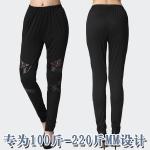 กางเกงผ้าฝ้ายยืดสีดำขายาว เอวยางยืด แต่งผ้าลูกไม้และผ้าหนังเก๋ ๆ (2XL,3XL,4XL)