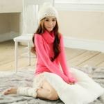 """""""พร้อมส่ง""""เสื้อผ้าแฟชั่นสไตล์เกาหลีราคาถูก Brand Tokyo Fashion เสื้อไหมพรมกันหนาว คอเต่า แขนยาว -สีชมพูเข้ม"""