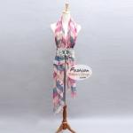 ผ้าพันคอแฟชั่นลายแผนที่โลก : สีชมพู CK0270