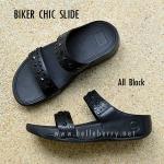 **พร้อมส่ง** BIKER CHIC SLIDE : All Black : Size US 8 / EU 39