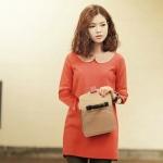 """size M""""พร้อมส่ง""""เสื้อผ้าแฟชั่นสไตล์เกาหลีราคาถูก Brand Chuvivi เดรสแขนยาวสีส้ม คอปกและปลายแขนสีครีม ซิปหลัง มีซับในทั้งตัว ใส่กันหนาวได้ค่ะ"""