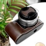 Pre Order / Case ใส่กล้อง NEX-C3 Leather Case + Lens Cap - Dark Brown