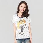 เสื้อยืดผ้าฝ้ายพิมพ์ลายไซส์ใหญ่แฟชั่นเกาหลี สีขาว (XL,2XL,3XL)