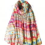 ผ้าพันคอโบฮีเมียน Bohemian ethnic : สีแดง - ผ้าพันคอ Paris Yarn - size 180*110 cm