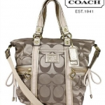 Coach DAISY APPLIQUE POCKET TOTE # 20101 สี Khaki Gold