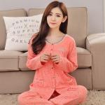 ชุดนอนผ้าฝ้ายไซส์ใหญ่ คอกลม ติดกระดุม แขนยาว-ขายาว สีส้มพิมพ์ลายการ์ตูน (XL,2XL,3XL)