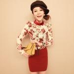 """""""พร้อมส่ง""""เสื้อผ้าแฟชั่นสไตล์เกาหลีราคาถูก เสื้อลูกไม้ลายดอก แขนยาว คอเต่าเป็นกำมะหยี่ มีซิปด้านหลัง -สีขาว"""