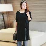 เสื้อยืดตัวยาวสีดำ กรีดชายเสื้อยาว ผ้ากำมะหยี่ค่อนข้างหนา (XL,2XL,3XL,4XL)