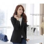 ++พร้อมส่ง++ เสื้อสูทสไตล์เกาหลี ปกเทเลอร์ สีดำ (2XL,3XL)