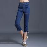 ++พร้อมส่ง++ กางเกงยีนส์ยืดขาสามส่วน สีน้ำเงิน (4XL)