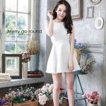 """""""พร้อมส่ง""""เสื้อผ้าแฟชั่นไทย Dress สปาเกตตี้ (Style lookbook) -สีขาว"""