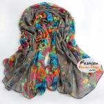 ผ้าพันคอแฟชั่นลายดอกไม้ Blossom : สีเทาเข้ม CK0339