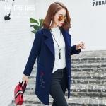 เสื้อโค้ทยาวผ้าขนสัตว์แฟชั่นเกาหลี สีน้ำเงิน ซีซั่นวินเทอร์ (XL,2XL,3XL,4XL,5XL) E3271
