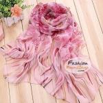 ผ้าพันคอแฟชั่นลายดอกไม้ Blossom : สีชมพู CK0019