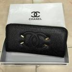 กระเป๋าสตางค์ Chanel มาใหม่แต่งโลโก้สวย ขนาด 4.5x7 นิ้ว ราคา 400 บาท สีดำ
