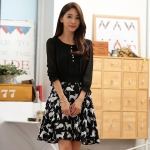 เดรสชีฟองสีดำแฟชั่นเกาหลีพิมพ์ลายไซส์ใหญ่ เย็บตัดต่อผ้า (M,L,XL,2XL,3XL)