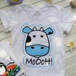 เสื้อยืดเด็กสกรีนลาย : วัว MOOOH!