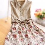 """""""พร้อมส่ง""""เสื้อผ้าแฟชั่นสไตล์ญี่ปุ่นราคาถูก เดรสเสื้อเชิ้ตสีกากีต่อกระโปรงลายดอกไม้ ชายฉลุ ซิปข้าง มีผ้าคาดเอว มีซับใน น่ารักดีค่ะ"""