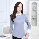 เสื้อเชิ้ตผู้ญิงแขนยาวทำงานสีเทา ปกขาว สำหรับเป็นชุดยูนิฟอร์ม ชุดพนักงาน