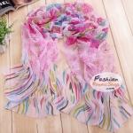 ผ้าพันคอแฟชั่นลายดอกไม้ Blossom : สีชมพู CK0044