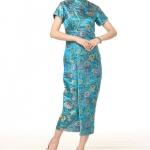 ชุดกี่เพ้ายาวไซส์ใหญ่ คอจีน สีฟ้าลายดอกไม้ S M L XL 2XL 3XL