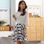เดรสชีฟองสีขาวแฟชั่นเกาหลีพิมพ์ลายไซส์ใหญ่ เย็บตัดต่อผ้า (M,L,XL,2XL,3XL)