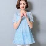 [PRE-ORDER] เสื้อแฟชั่นชีฟองสีฟ้าลายลูกไม้ แขนสั้น ทรงปล่อย (M,L,XL,2XL,3XL,4XL,5XL)