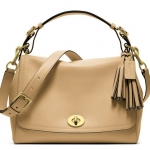 COACH Legacy Romy Leather Top Handle Convertible Satchel # 22383 สี Sand