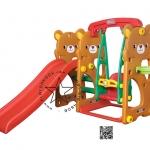 Pro-05-57-31 สไลด์หมีน้อย 4 in 1 สไลด์ + ชิงช้า + เสียงเพลง + แป้นบาส (สีน้ำตาล)