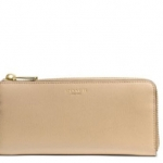 Coach Saffiano Leather Slim ZIP Wallet # 50923 สี Brass/Tan