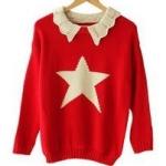 """""""พร้อมส่ง""""เสื้อผ้าแฟชั่นสไตล์เกาหลีราคาถูก เสื้อไหมพรมถักกันหนาว คอปกสีครีม ตรงกลางเป็นรูปดาว -สีแดง"""