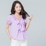 เสื้อชีฟอง คอวี แขนตุ๊กตา เอวจั๊ม สีม่วงอ่อน (XL,2XL,3XL,4XL)