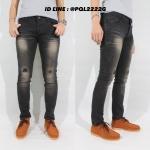กางเกงยีนส์ ทรงกระบอกเล็ก ฟอกดำขาด CHIPZ SHOP BRAND