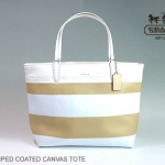 Coach Striped Coated Canvas Tote Handbag Purse # 30511 สี Tan White