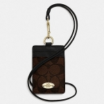 Coach Signature C PVC Canvas Leather Brown Black Lanyard, Badge ID Credit Card Holder # 63274 สี Brown Black