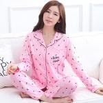 ชุดนอนผ้าฝ้ายไซส์ใหญ่ คอกลม ติดกระดุม แขนยาว-ขายาว สีชมพูพิมพ์ลาย (XL,2XL,3XL,4XL)