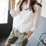 เสื้อเชิ้ตสีขาว แขนลายลูกไม้ (XL,2XL,3XL)