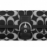 Coach Campbell Signature Buckle Slim Envelope Wallet # 50149 สี Black White