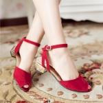 ♥พร้อมส่ง♥ รองเท้าแฟชั่นไซส์ใหญ่ สีแดง เบอร์ 43