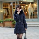 เสื้อกันหนาวตัวยาวไซส์ใหญ่ ผ้าหนา ปกขนเฟอร์ มีฮู้ดขนเฟอร์ สีเนวี่บลู (XL,2XL,3XL,4XL,5XL,6XL)