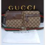 กระเป๋าสะพายข้าง Gucci ขอบสีน้ำตาล
