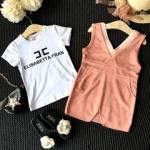 ชุด 2 ชิ้น เสื้อ + เอี๊ยมกระโปรงสีชมพู สไตล์เกาหลีน่ารักตะมุตะมิ