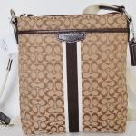 Coach Signature Stripe 6CM North/South Swingpack # 51163 สี KHAKI/MAHOGANY