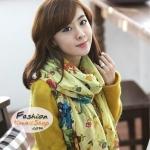ผ้าพันคอแฟชั่นลายดอกไม้ Blossom : สีเหลือง CK0302