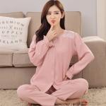 ชุดนอนไซส์ใหญ่ ปกเชิ้ต แขนยาว-ขายาว สีชมพู (XL,2XL,3XL)