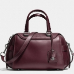 COACH ACE satchel in glovetanned leather # 37017 สี Lh/Burgundy