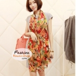 ผ้าพันคอแฟชั่นลายสวยหรู Luxury : สีส้ม CK0160