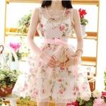 """""""พร้อมส่ง""""เสื้อผ้าแฟชั่นสไตล์เกาหลีราคาถูก Brand Cherry KOKO set 2ชิ้น เดรสผ้าไหมแก้วเนื้อบาง พิมพ์ลายดอกกุหลาบ สีชมพูอมแดง แขนกุด ซิบข้าง +ซับในสายเดี่ยว ตัวกระโปรงของซับในเย็บซ้อน ด้วยผ้าไหมแก้วอีกชั้นนึง และมีริบบิ้นสีชมพูให้เหมือนแบบ -size M"""